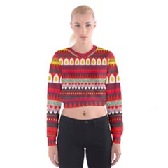 Fabric Aztec Red Line Polka Circle Wave Chevron Star Cropped Sweatshirt by Mariart