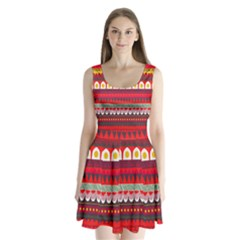 Fabric Aztec Red Line Polka Circle Wave Chevron Star Split Back Mini Dress  by Mariart