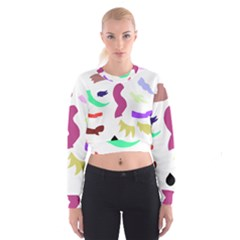 Plushie Color Rainbow Brown Purple Yellow Green Black Cropped Sweatshirt by Mariart