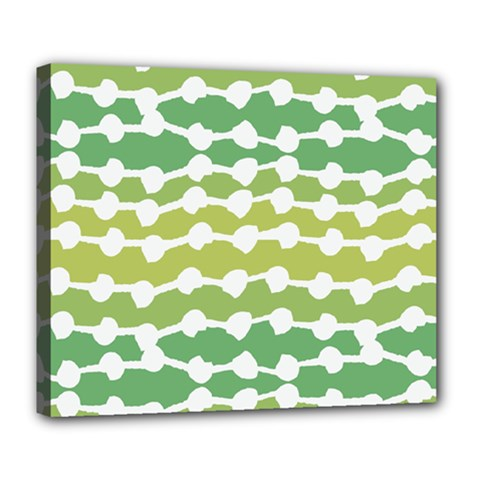 Polkadot Polka Circle Round Line Wave Chevron Waves Green White Deluxe Canvas 24  X 20   by Mariart