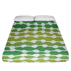 Polkadot Polka Circle Round Line Wave Chevron Waves Green White Fitted Sheet (california King Size) by Mariart