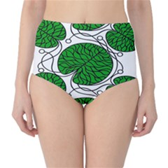Leaf Green High-waist Bikini Bottoms by Mariart