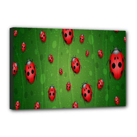 Ladybugs Red Leaf Green Polka Animals Insect Canvas 18  X 12  by Mariart