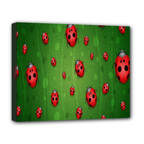 Ladybugs Red Leaf Green Polka Animals Insect Deluxe Canvas 20  X 16   by Mariart
