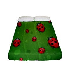 Ladybugs Red Leaf Green Polka Animals Insect Fitted Sheet (full/ Double Size) by Mariart