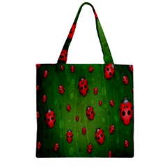 Ladybugs Red Leaf Green Polka Animals Insect Zipper Grocery Tote Bag by Mariart