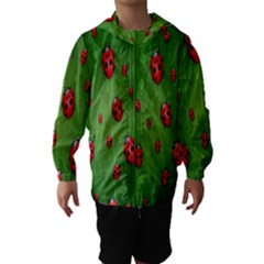Ladybugs Red Leaf Green Polka Animals Insect Hooded Wind Breaker (kids)