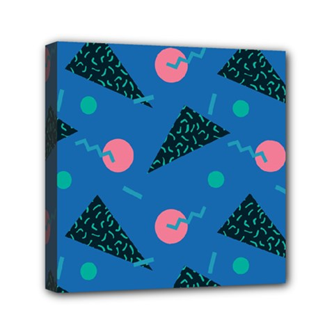 Seamless Triangle Circle Blue Waves Pink Mini Canvas 6  X 6  by Mariart