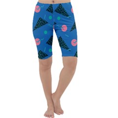 Seamless Triangle Circle Blue Waves Pink Cropped Leggings  by Mariart