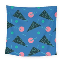 Seamless Triangle Circle Blue Waves Pink Square Tapestry (large) by Mariart