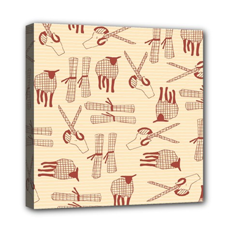 Sheep Goats Paper Scissors Mini Canvas 8  X 8  by Mariart