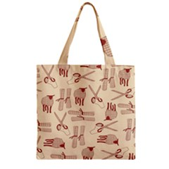 Sheep Goats Paper Scissors Zipper Grocery Tote Bag by Mariart