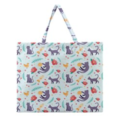 Redbubble Animals Cat Bird Flower Floral Leaf Fish Zipper Large Tote Bag by Mariart
