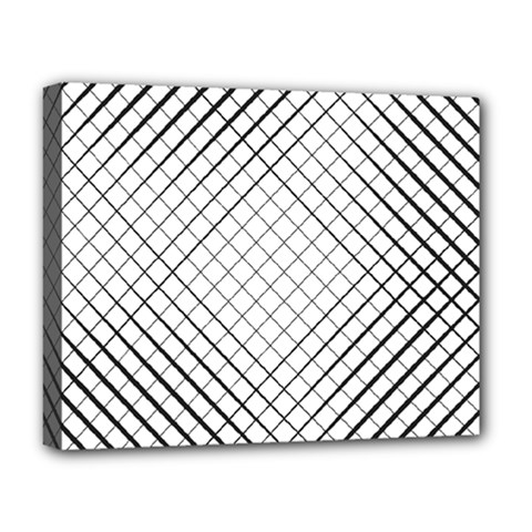 Simple Pattern Waves Plaid Black White Deluxe Canvas 20  X 16   by Mariart
