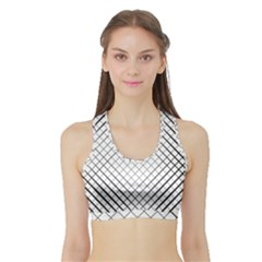 Simple Pattern Waves Plaid Black White Sports Bra With Border by Mariart