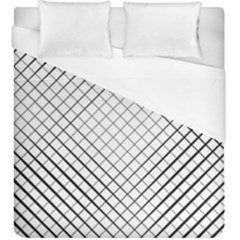 Simple Pattern Waves Plaid Black White Duvet Cover (king Size) by Mariart