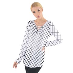 Simple Pattern Waves Plaid Black White Women s Tie Up Tee by Mariart
