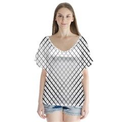 Simple Pattern Waves Plaid Black White Flutter Sleeve Top