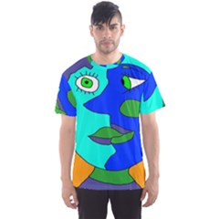 Visual Face Blue Orange Green Mask Men s Sport Mesh Tee by Mariart