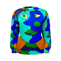 Visual Face Blue Orange Green Mask Women s Sweatshirt by Mariart