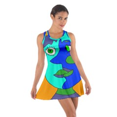 Visual Face Blue Orange Green Mask Cotton Racerback Dress by Mariart