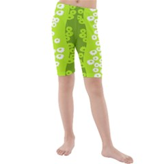 Sunflower Green Kids  Mid Length Swim Shorts by Mariart