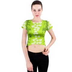 Sunflower Green Crew Neck Crop Top by Mariart