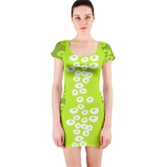 Sunflower Green Short Sleeve Bodycon Dress by Mariart