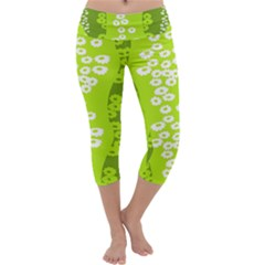 Sunflower Green Capri Yoga Leggings by Mariart