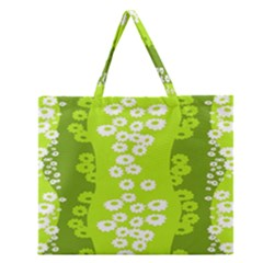Sunflower Green Zipper Large Tote Bag by Mariart