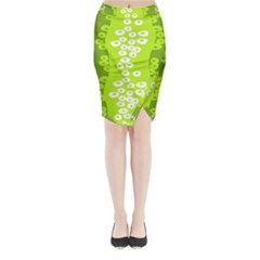 Sunflower Green Midi Wrap Pencil Skirt by Mariart