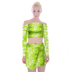 Sunflower Green Off Shoulder Top With Skirt Set by Mariart