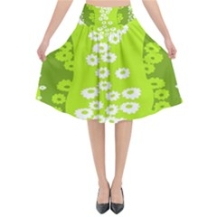 Sunflower Green Flared Midi Skirt by Mariart