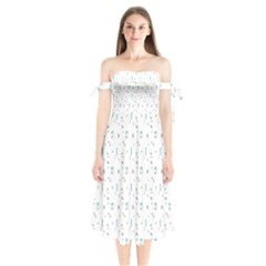 White Triangle Wave Waves Chevron Polka Circle Shoulder Tie Bardot Midi Dress