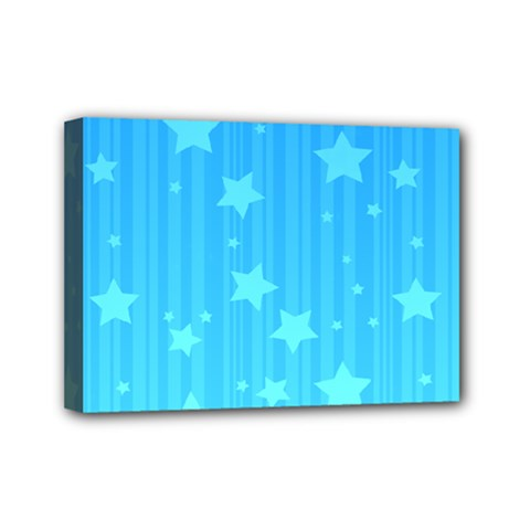 Star Blue Sky Space Line Vertical Light Mini Canvas 7  X 5  by Mariart