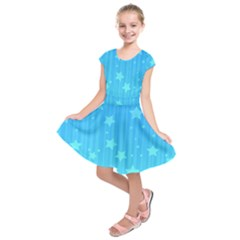 Star Blue Sky Space Line Vertical Light Kids  Short Sleeve Dress by Mariart