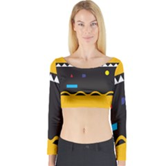 Bright Polka Wave Chevron Yellow Black Long Sleeve Crop Top by Mariart