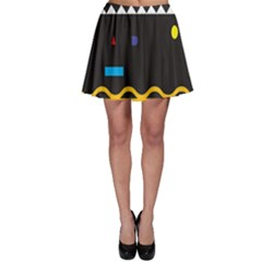 Bright Polka Wave Chevron Yellow Black Skater Skirt