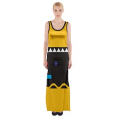 Bright Polka Wave Chevron Yellow Black Maxi Thigh Split Dress