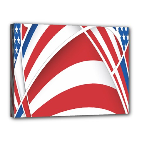 American Flag Star Blue Line Red White Canvas 16  X 12  by Mariart
