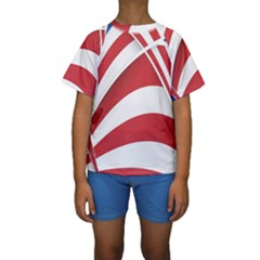 American Flag Star Blue Line Red White Kids  Short Sleeve Swimwear by Mariart