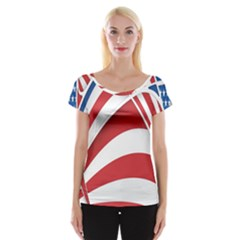 American Flag Star Blue Line Red White Women s Cap Sleeve Top by Mariart
