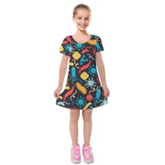 Worm Insect Bacteria Monster Kids  Short Sleeve Velvet Dress by Mariart