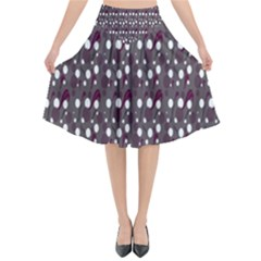 Circles Dots Background Texture Flared Midi Skirt
