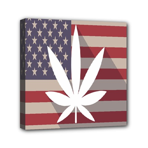 Flag American Star Blue Line White Red Marijuana Leaf Mini Canvas 6  X 6  by Mariart