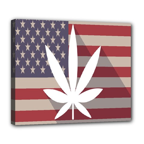 Flag American Star Blue Line White Red Marijuana Leaf Deluxe Canvas 24  X 20   by Mariart