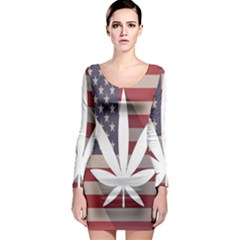 Flag American Star Blue Line White Red Marijuana Leaf Long Sleeve Bodycon Dress