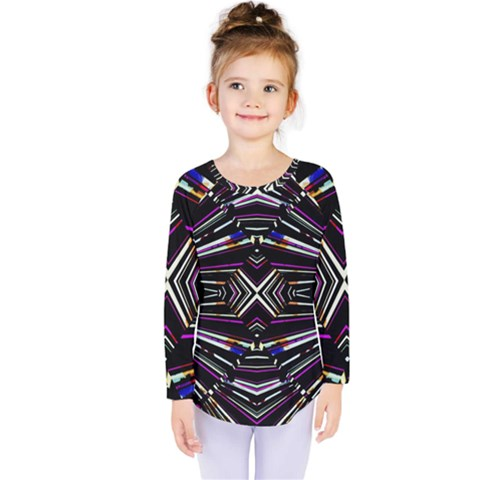 Dark Ethnic Sharp Bold Pattern Kids  Long Sleeve Tee by dflcprintsclothing