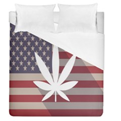 Flag American Star Blue Line White Red Marijuana Leaf Duvet Cover (queen Size)