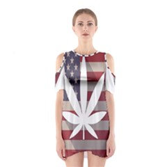 Flag American Star Blue Line White Red Marijuana Leaf Shoulder Cutout One Piece by Mariart